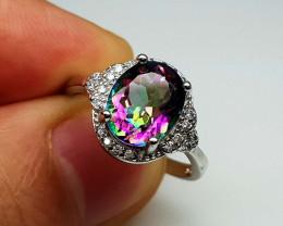 17.55Crt Mystic Quartz 925 silver Ring