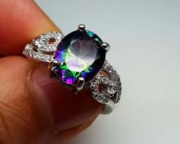 22.80Crt Mystic Quartz 925  Silver Ring