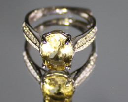 Congo Citrine 2.30ct White Gold Finish Solid 925 Sterling Silver Ring