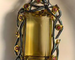 Outstanding Sapphire Citrine Pendant 14kt Gold Sterling Silver