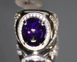Amethyst 10.66ct Platinum Finish Solid 925 Sterling Silver Ring