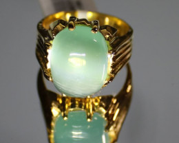 Cats Eye Green Calcite 13.25ct Solid 18K Yellow Gold Ring