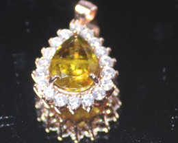 Sphene 2.85ct Rose Gold Finish Solid 925 Sterling Silver Pendant