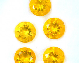 4.95 Cts Natural Mexican Fire Opal 7mm Round 5 Pcs Fiery Orange