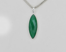 GREEN ONYX PENDANT 925 STERLING SILVER NATURAL GEMSTONE FREE SHIPPING JP93