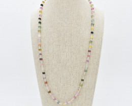 MULTI NECKLACE NATURAL GEM 925 STERLING SILVER FREE SHIPPING JN61