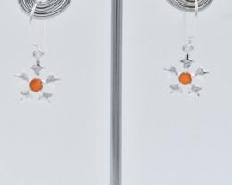 CARNELIAN EARRINGS 925 STERLING SILVER NATURAL GEMSTONE FREE SHIPPING JE254