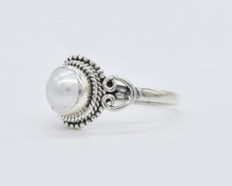 PEARL RING 925 STERLING SILVER NATURAL GEMSTONE FREE SHIPPING JR117