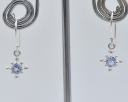 BLUE TOPAZ  EARRINGS 925 STERLING SILVER NATURAL GEMSTONE FREE SHIPPING JE1