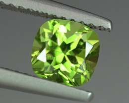 1.09CT ELECTRIC LIME COLOR CUSHION CUT NATURAL PERIDOT $1NR!