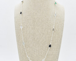 MULTI NECKLACE NATURAL GEM 925 STERLING SILVER FREE SHIPPING JN33