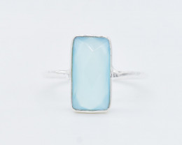 CHALCEDONY RING 925 STERLING SILVER NATURAL GEMSTONE FREE SHIPPING JR363