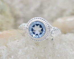 BLUE TOPAZ RING 925 STERLING SILVER NATURAL GEMSTONE JR361