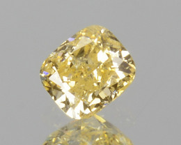 ~UNTREATED~ 0.10 Cts Natural Diamond Fancy Yellow Cushion Cut Africa