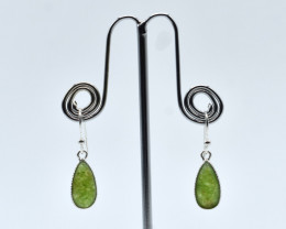 PREHNITE EARRINGS 925 STERLING SILVER NATURAL GEMSTONE FREE SHIPPING JE105