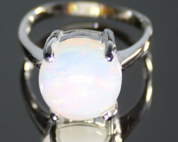 Opal 6.88ct Platinum Finish Solid 925 Sterling Silver Ring