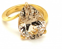 Imperial Topaz 13.60ct Solid 18K Yellow Gold Solitaire Ring