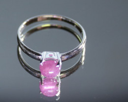 Pink Sapphire 1.60ct Platinum Finish Solid 925 Sterling Silver Solitaire Ri