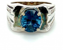 Blue Topaz 3.52ct Platinum Finish Solid 925 Sterling Silver Solitaire Ring