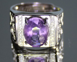 Amethyst 3.05ct White Gold Finish Solid 925 Sterling Silver Solitaire Ring
