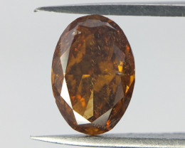 Rare Cognac Color Diamond , Oval Cut Diamond , 0.62 cts