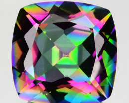 ~FLASHING~ 3.63 Cts Natural Rainbow Mystic Topaz 9mm Cushion Brazil
