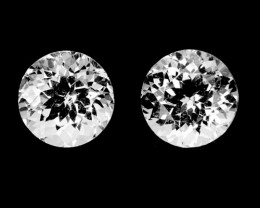 ~UNHEATED~ 3.80 Cts Natural Sparkling White Topaz 2Pcs Round Cut Brazil