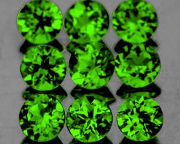 3.00 mm Round 9 pcs 1.13cts Chrome Green Diopside [VVS]