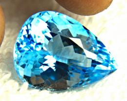 23.31 Ct. Blue Brazilian VVS Topaz Pear - Gorgeous