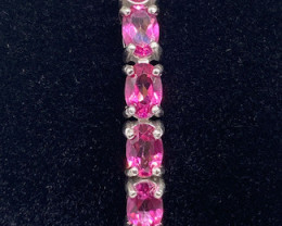 (8) Gorgeous Nat 15.16 tcw. Rich Pink Topaz Bracelet Heated