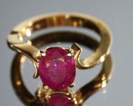 Burmese Ruby 2.85ct Solid 18K Yellow Gold Solitaire Natural Untreated