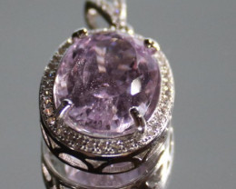 Pink Kunzite 8.75ct White Gold Finish Solid 925 Sterling Silver Pendant, Fe