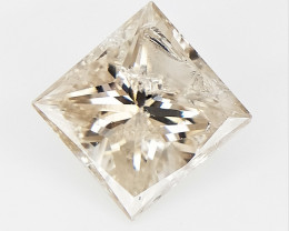 0.79 cts , Princess BRILLIANT Diamond , Natural Impurities ,  champagne col
