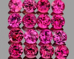 2.00 mm Round 30 pcs 1.08cts Hot Pink Tourmaline [VVS]