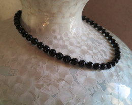 BLACK JADE NECKLACE  BURMA....50cm and 10mm clasp white gold filled