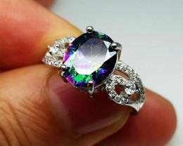 22.65crt Mystic Quartz 925 silver ring with CZ  JI87