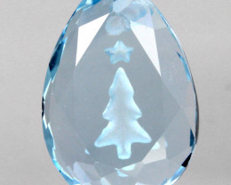 A SKY BLUE TOPAZ -  ENGRAVED GEM - DRILLED  -NO RESERVE