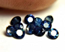 0.69 Tcw. 2.5mm Blue Sapphire Accent Gems - 10 pcs.