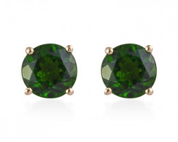 Premium Russian Diopside Stud Earrings in 14K Yellow Gold 2.75 ctw