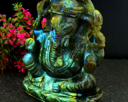 Genuine 1735.00 Cts Green & Blue Flash Labradorite Ganesha