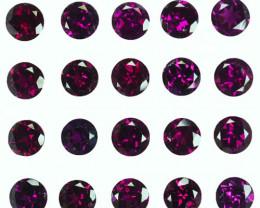 20.03Cts Natural Grape Garnet 6mm Round  19pcs Mozambique