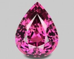 Custom pear cut natural pink Mahenge rhodolite garnet.