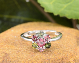 Natural Tourmaline Size Adjustable 925 Sterling Silver Ring  (SSR0660)