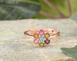 Natural Tourmaline ADJUSTABLE 925 Sterling Silver Ring (Rose gold plate)