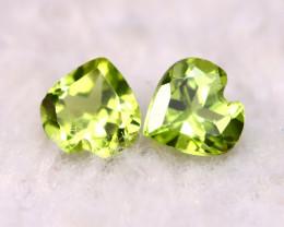 Peridot 0.92Ct 2Pcs Natural Pakistan Himalayan Green Peridot E2808
