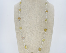 YELLOW SAPPHIRE NECKLACE NATURAL GEM 925 STERLING SILVER JN186