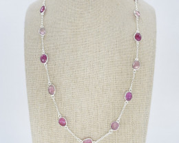 PINK SAPPHIRE NECKLACE NATURAL GEM 925 STERLING SILVER JN189