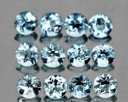 2.80 mm Round 12 pieces Blue Aquamarine [VVS]