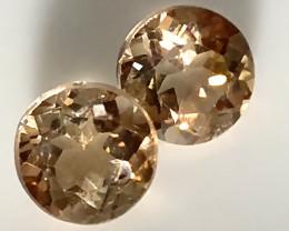 A PAIR OF CARAMEL TOPAZ GEMS - 7.00mm Jewellery grade C12P