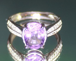 Amethyst 2.30ct White Gold Finish Solid 925 Sterling Silver Ring